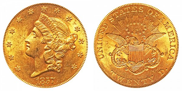 1857 Liberty Head $20 Gold Double Eagle - Twenty Dollars