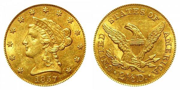1857 Liberty Head $2.50 Gold Quarter Eagle - 2 1/2 Dollars