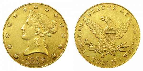 1857 O Liberty Head $10 Gold Eagle - Ten Dollars