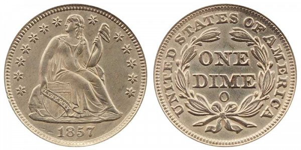 1857 O Seated Liberty Dime