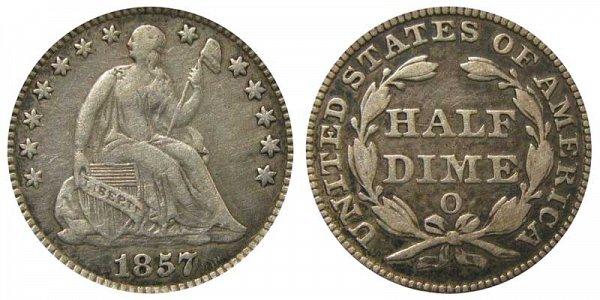 1857 O Seated Liberty Half Dime