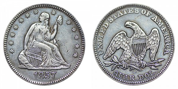 1857 O Seated Liberty Quarter