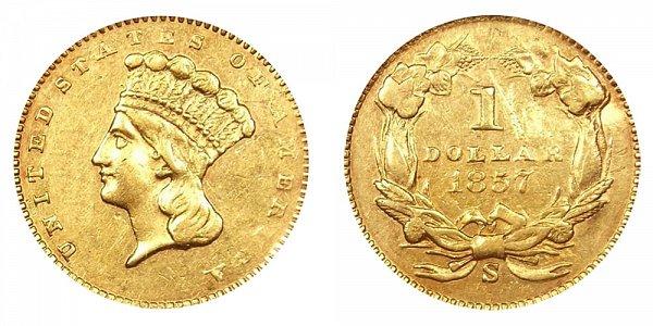 1857 S Large Indian Princess Head Gold Dollar G$1