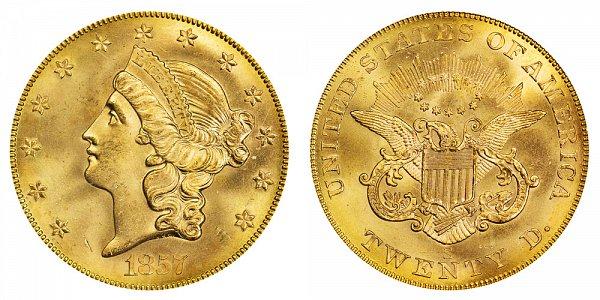 1857 S Liberty Head $20 Gold Double Eagle - Twenty Dollars