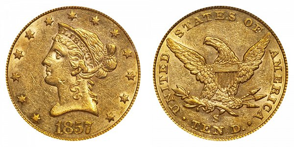 1857 S Liberty Head $10 Gold Eagle - Ten Dollars