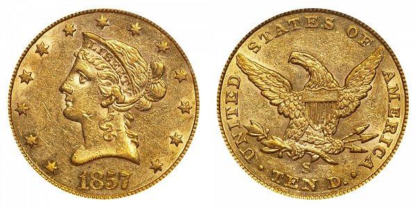 1857 S Liberty Head $10 Gold Eagle - Ten Dollars