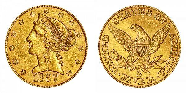 1857 S Liberty Head $5 Gold Half Eagle - Five Dollars