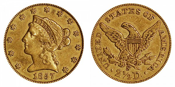 1857 S Liberty Head $2.50 Gold Quarter Eagle - 2 1/2 Dollars