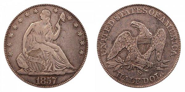 1857 S Seated Liberty Half Dollar
