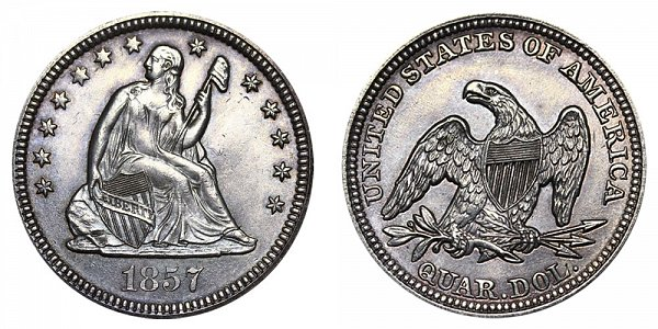 1857 Seated Liberty Quarter