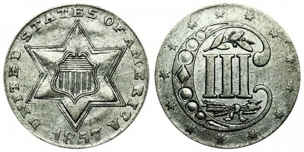 1857 Silver Three Cent Piece Trime