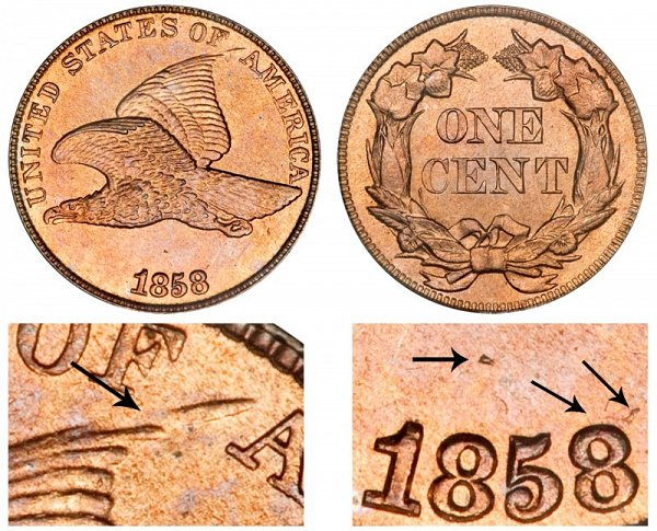 1858/7 8 Over 7 Overdate Flying Eagle Cent Penny