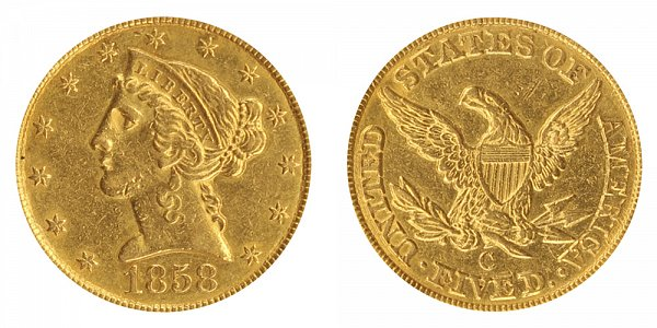 1858 C Liberty Head $5 Gold Half Eagle - Five Dollars