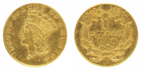 1858 D Large Indian Princess Head Gold Dollar G$1