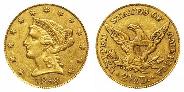 1858 Liberty Head $2.50 Gold Quarter Eagle - 2 1/2 Dollars
