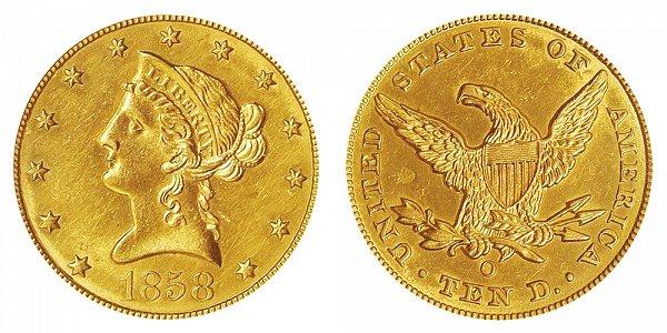 1858 O Liberty Head $10 Gold Eagle - Ten Dollars