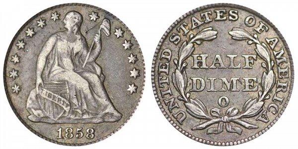 1858 O Seated Liberty Half Dime
