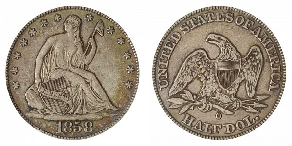1858 O Seated Liberty Half Dollar