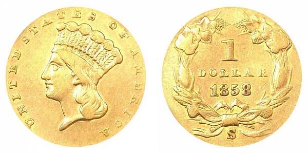 1858 S Large Indian Princess Head Gold Dollar G$1