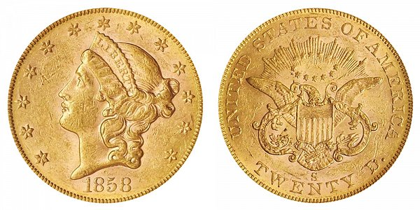 1858 S Liberty Head $20 Gold Double Eagle - Twenty Dollars