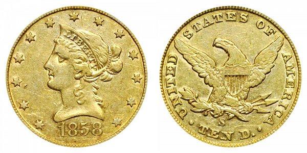 1858 S Liberty Head $10 Gold Eagle - Ten Dollars