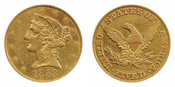 1858 S Liberty Head $5 Gold Half Eagle - Five Dollars