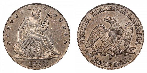 1858 S Seated Liberty Half Dollar