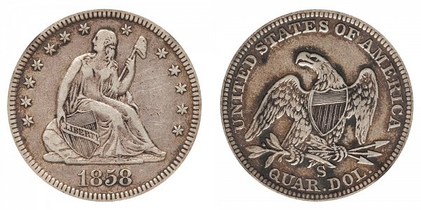 1858 S Seated Liberty Quarter