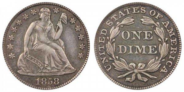 1858 Seated Liberty Dime