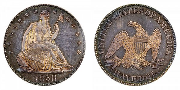 1858 Seated Liberty Half Dollar