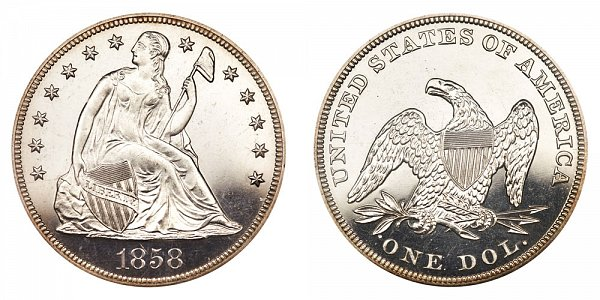 1858 Seated Liberty Silver Dollar - Proof