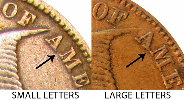 1858 Small Letters vs Large Letters Flying Eagle Cent - Comparisions and Differences