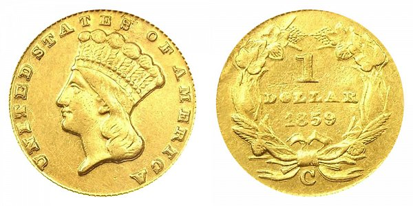 1859 C Large Indian Princess Head Gold Dollar G$1