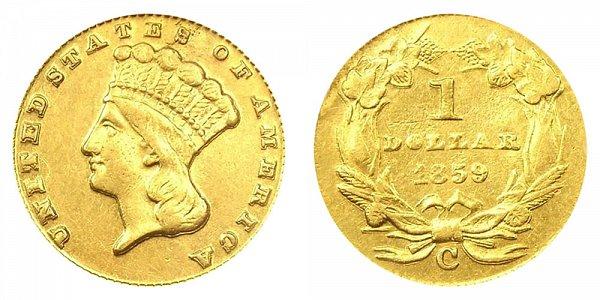1859 C Large Indian Princess Head Gold Dollar G$1