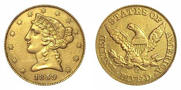 1859 C Liberty Head $5 Gold Half Eagle - Five Dollars