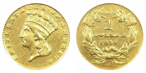 1859 D Large Indian Princess Head Gold Dollar G$1