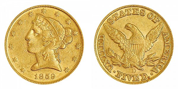 1859 D Liberty Head $5 Gold Half Eagle - Five Dollars