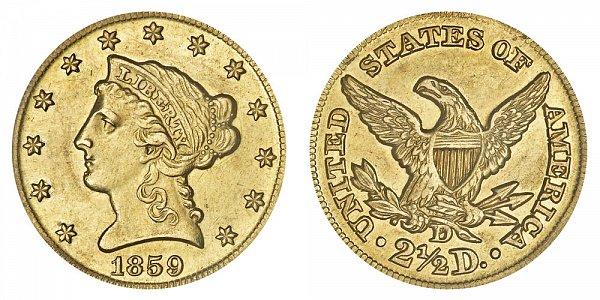 1859 D Liberty Head $2.50 Gold Quarter Eagle - 2 1/2 Dollars