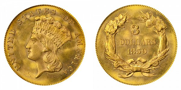 1859 Indian Princess Head $3 Gold Dollars - Three Dollars