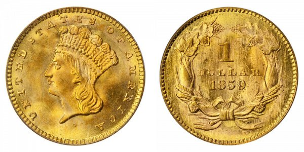 1859 Large Indian Princess Head Gold Dollar G$1