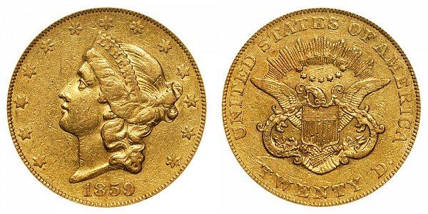 1859 Liberty Head $20 Gold Double Eagle - Twenty Dollars