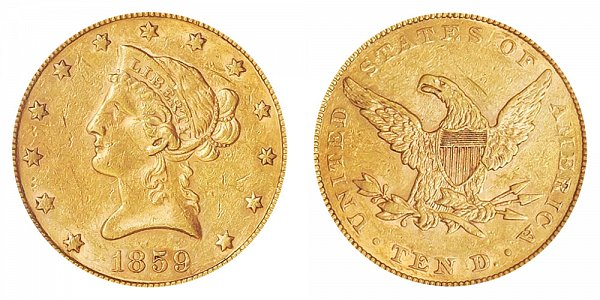 1859 Liberty Head $10 Gold Eagle - Ten Dollars