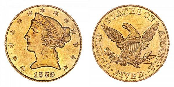 1859 Liberty Head $5 Gold Half Eagle - Five Dollars