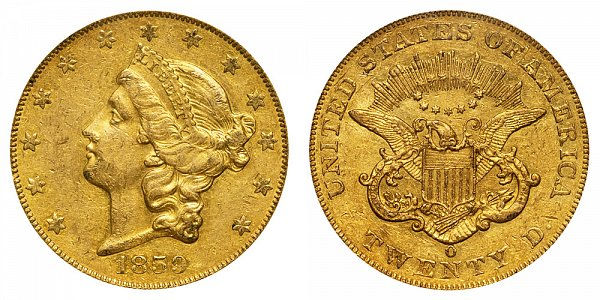 1859 O Liberty Head $20 Gold Double Eagle - Twenty Dollars