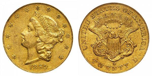 1859 O Liberty Head $20 Gold Double Eagle - Twenty Dollars