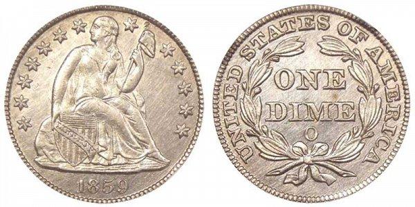 1859 O Seated Liberty Dime