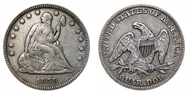 1859 O Seated Liberty Quarter