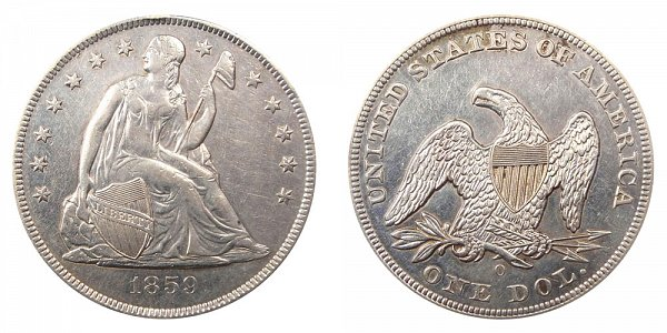 1859 O Seated Liberty Silver Dollar