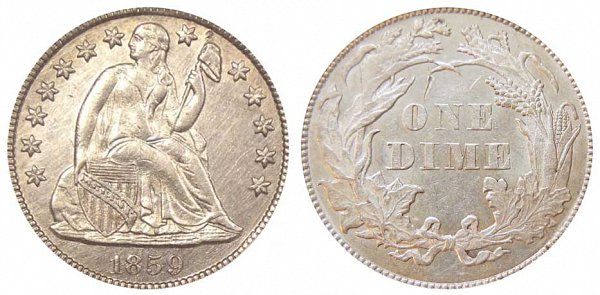 1859 Transitional Pattern Seated Liberty Dime - Reverse of 1860 - Obverse of 1859