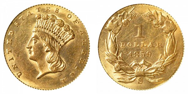1859 S Large Indian Princess Head Gold Dollar G$1